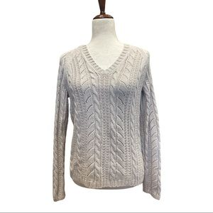 Ann Taylor Cable Knit V-Neck Pull-Over Sweater (M)